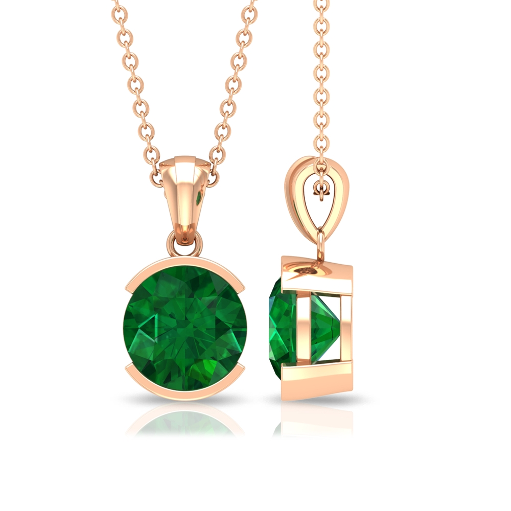 May Birthstone 8 MM Half Bezel Set Round Cut Solitaire Emerald Pendant without Chain