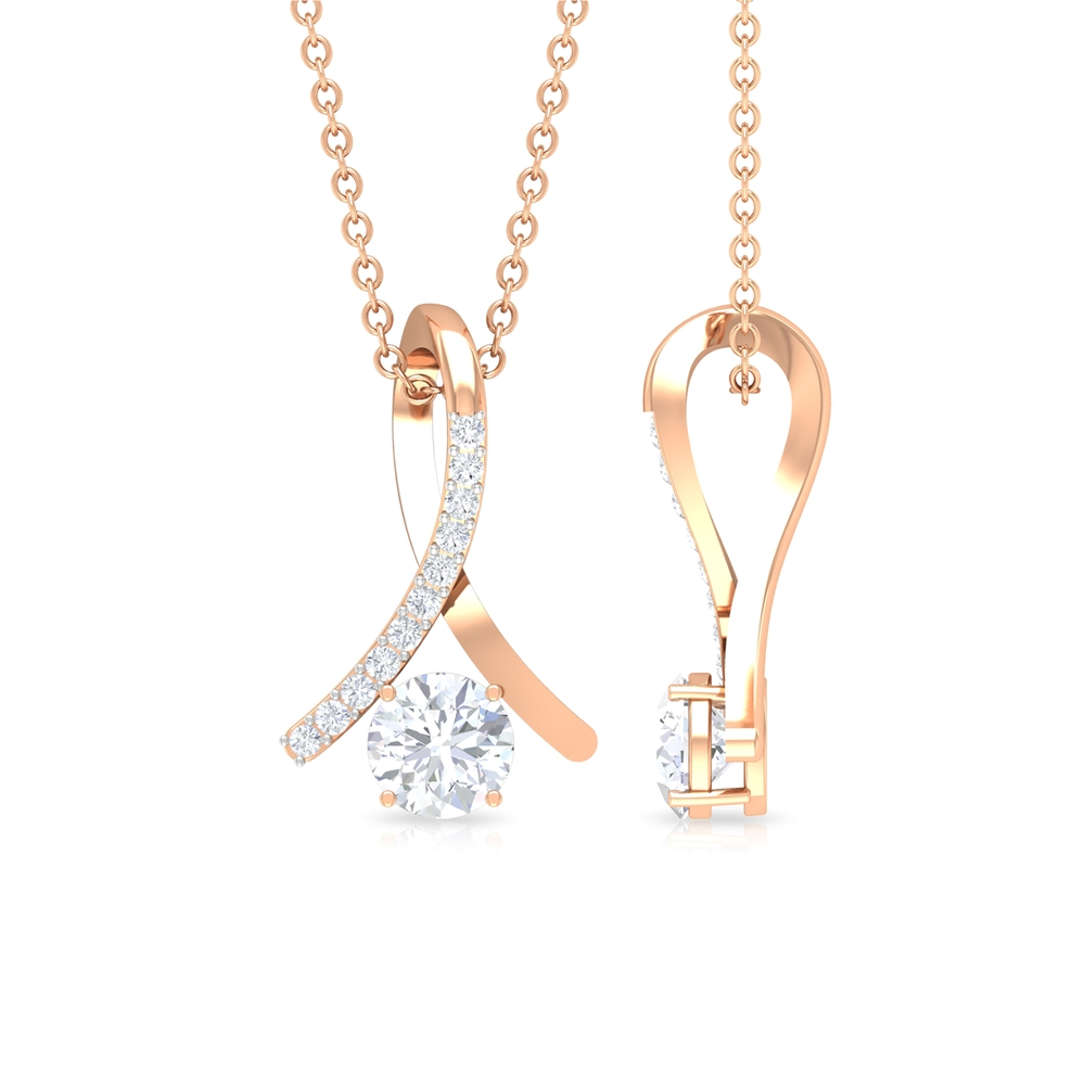 1/2 CT Round Cut Diamond Pendant Necklace with Accent