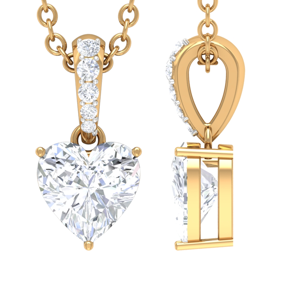 1/2 CT Heart Shape Diamond Pendant Necklace with Accent Bail