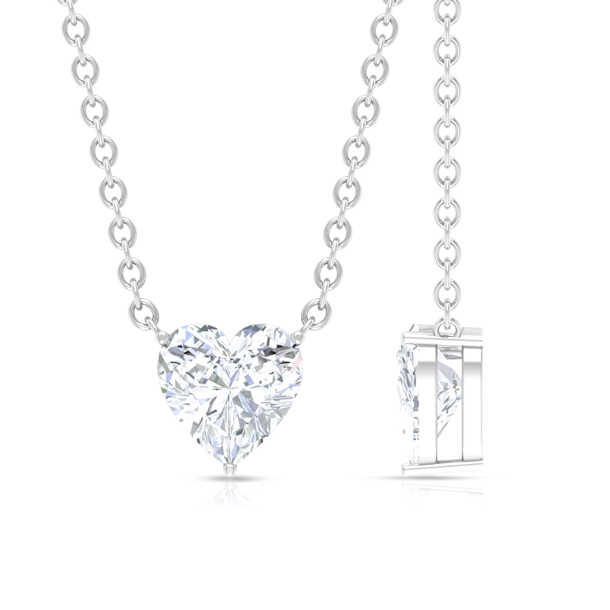 5 MM Heart Shape Diamond Solitaire Necklace in Prong Setting