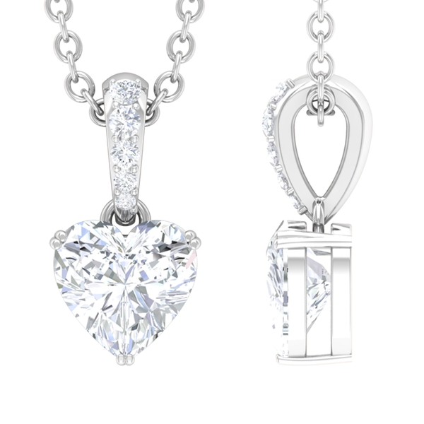 1/2 CT Heart Shape Solitaire Diamond Pendant Necklace in Prong Setting