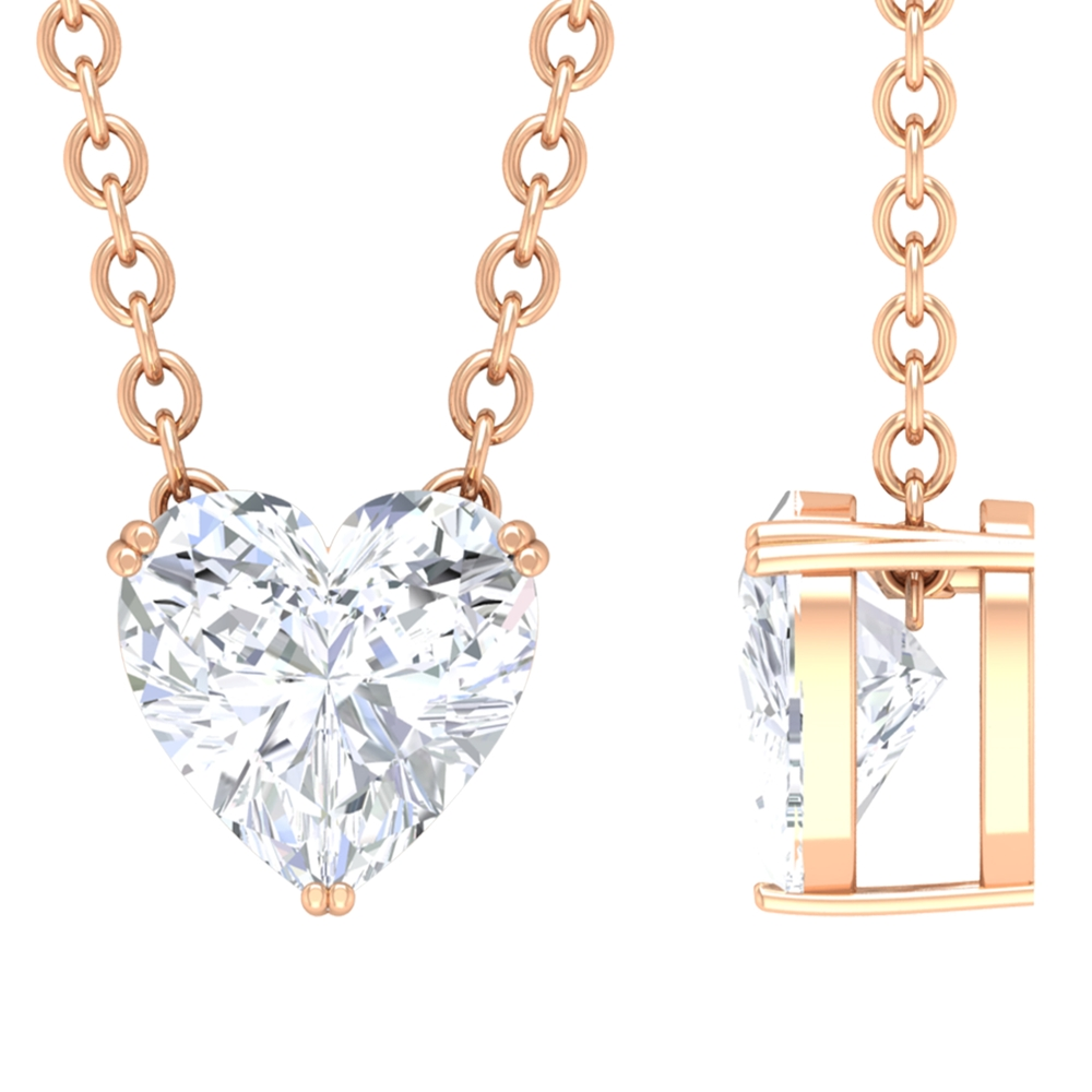 1/2 CT Heart Shape Diamond Solitaire Necklace in Double Prong Setting