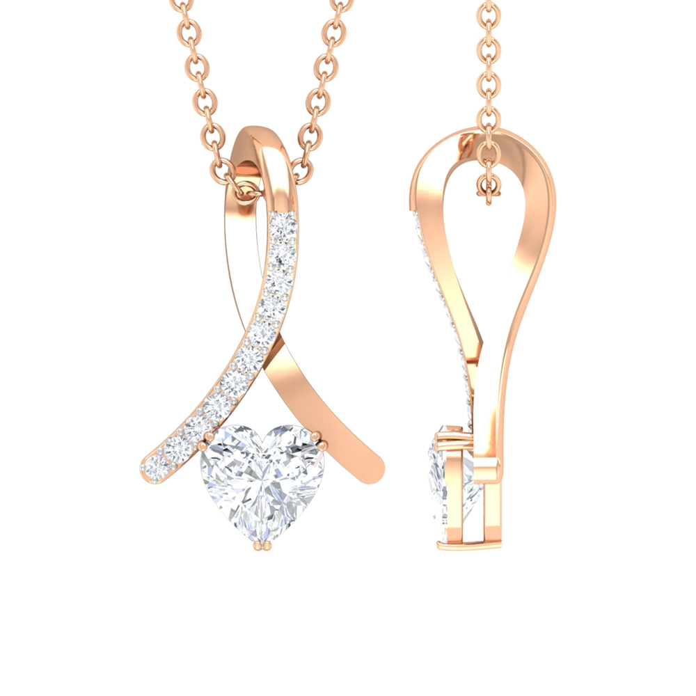 1/2 CT Heart Shape Diamond Pendant Necklace with Accent