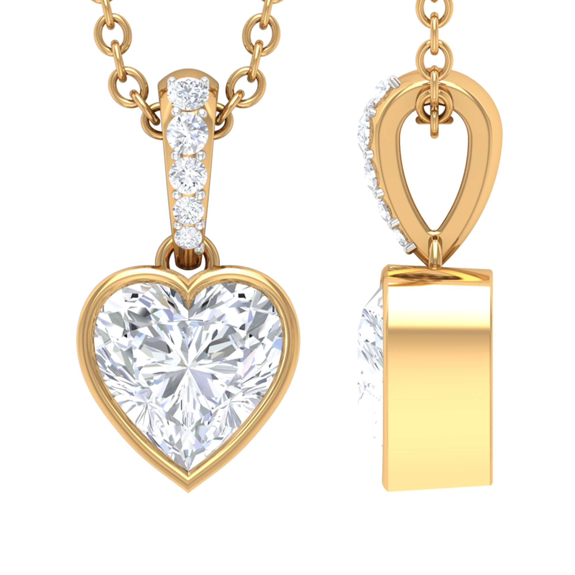 1/2 CT Heart Shape Diamond Solitaire Pendant Necklace with Accent Bail