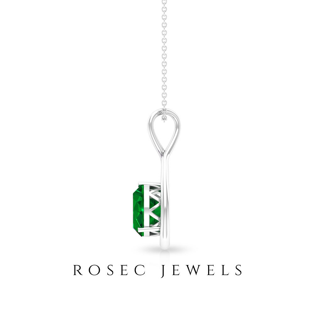 Dainty Pear Shape Pendant for Women with 3/4 CT Round Emerald