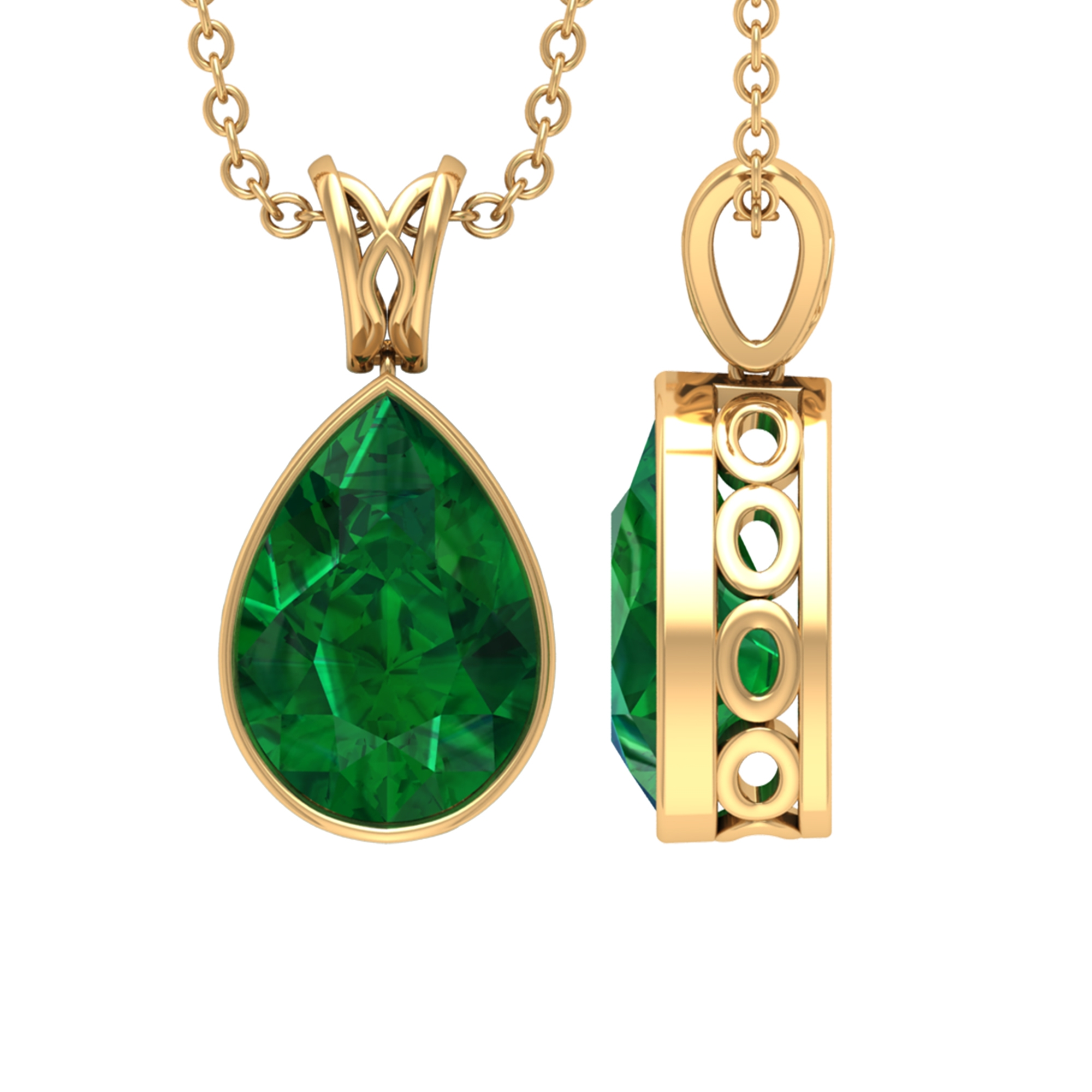 7X10 MM Pear Cut Emerald Solitaire Simple Pendant in Bezel Setting with Decorative Bail