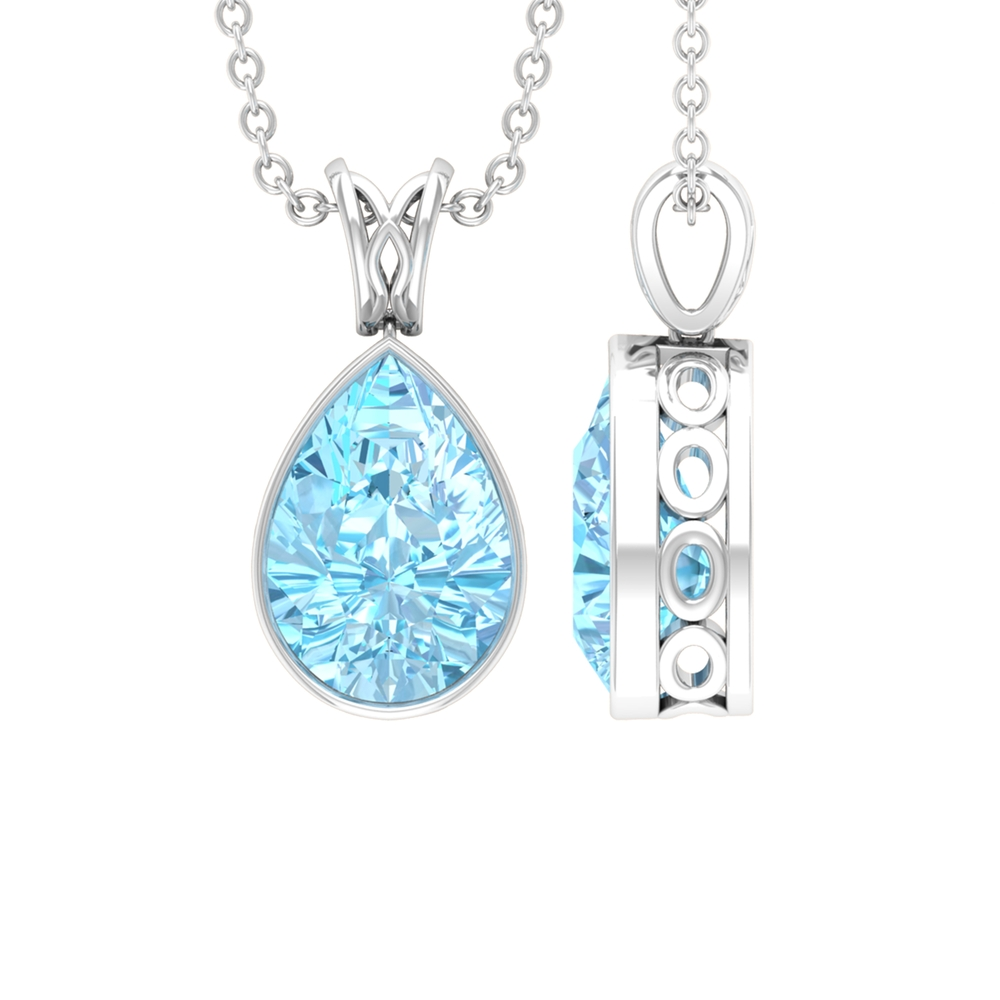 7X10 MM Pear Cut Aquamarine Solitaire Pendant in Bezel Setting with Decorative Bail