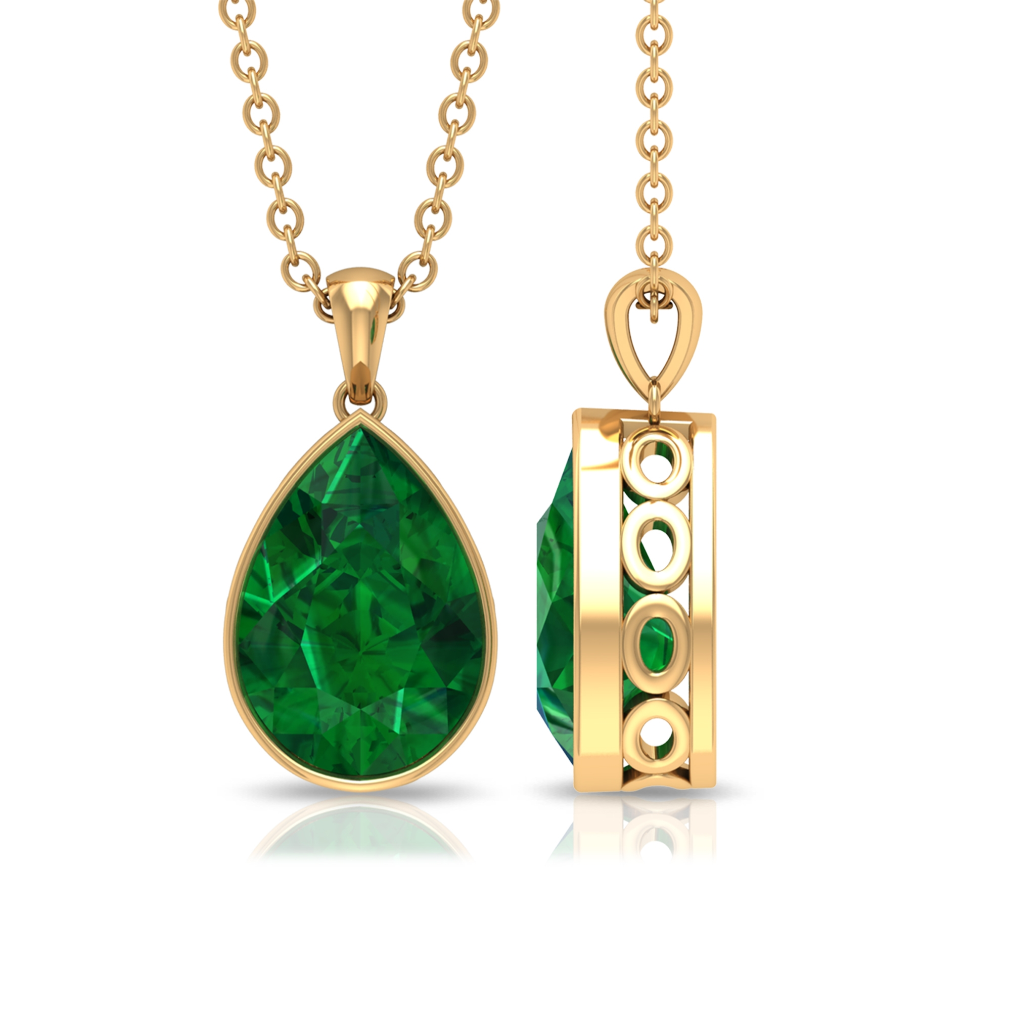 7X10 MM Pear Cut Emerald Solitaire Simple Pendant in Bezel Setting for Women