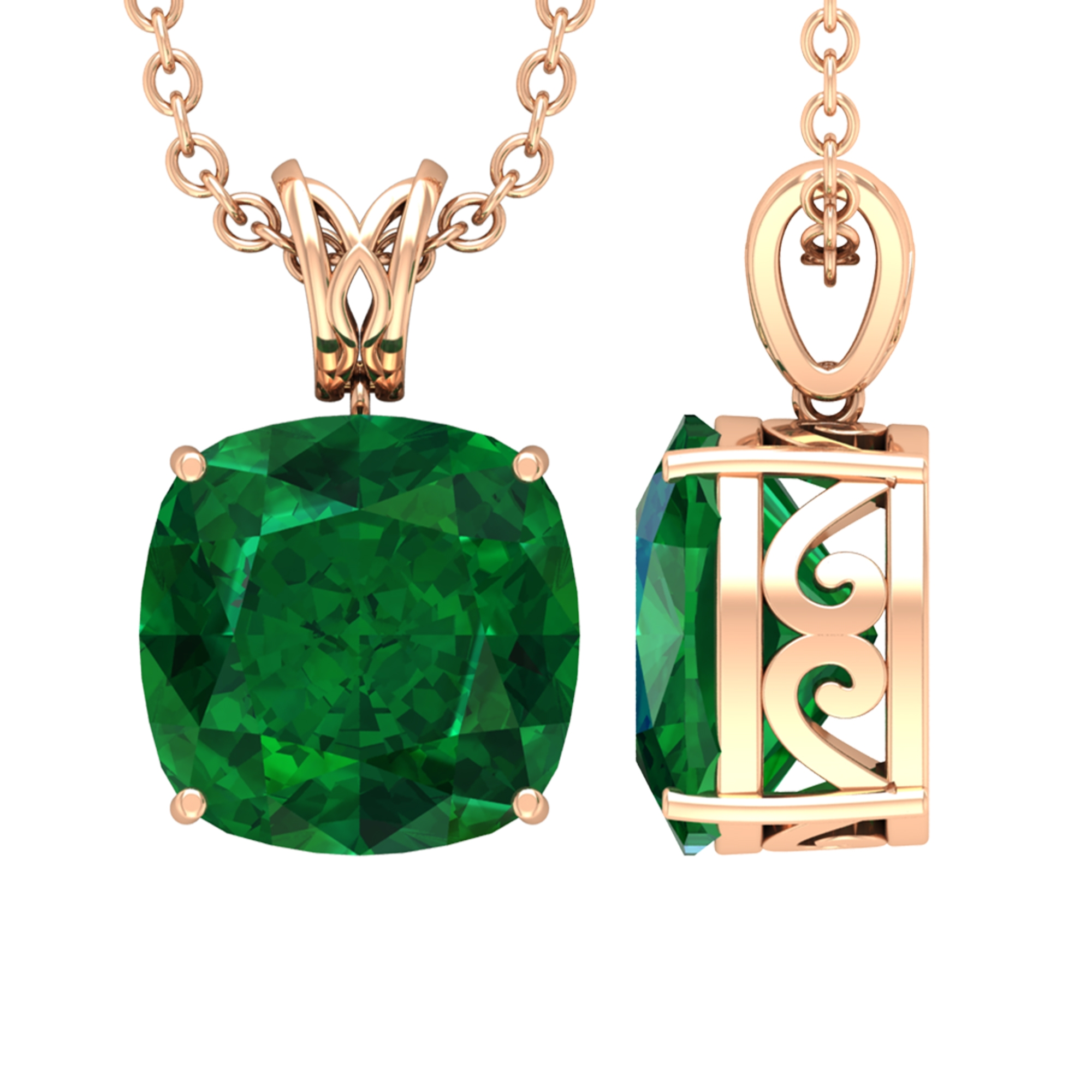 8 MM Cushion Cut Emerald Solitaire Pendant in 4 Prong Setting with Decorative Bail