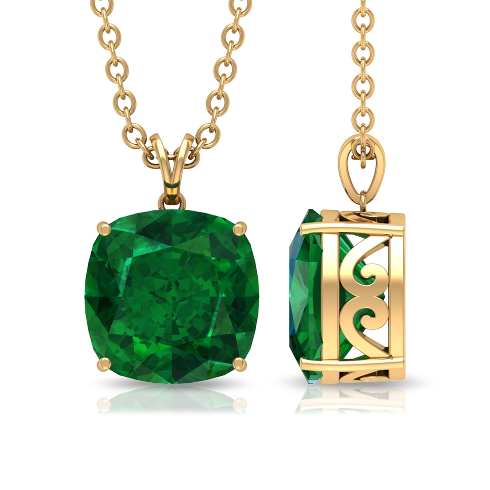 8 MM Cushion Cut Emerald Solitaire Pendant in 4 Prong Setting with Rabbit Ear Bail