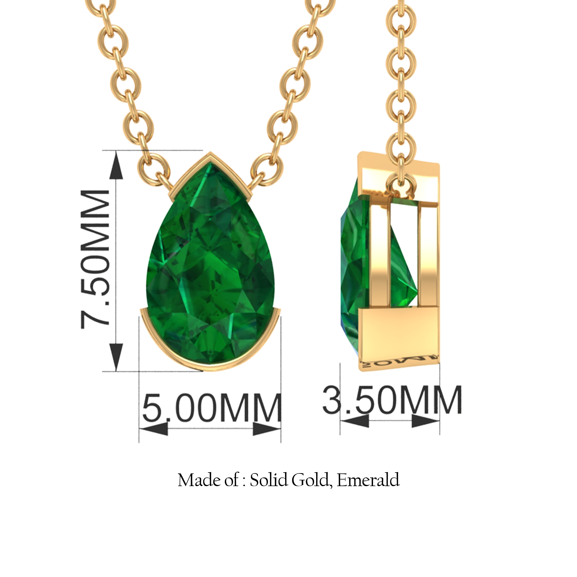4.5X7 MM Pear Cut Emerald Solitaire Simple Necklace in Half Bezel Setting