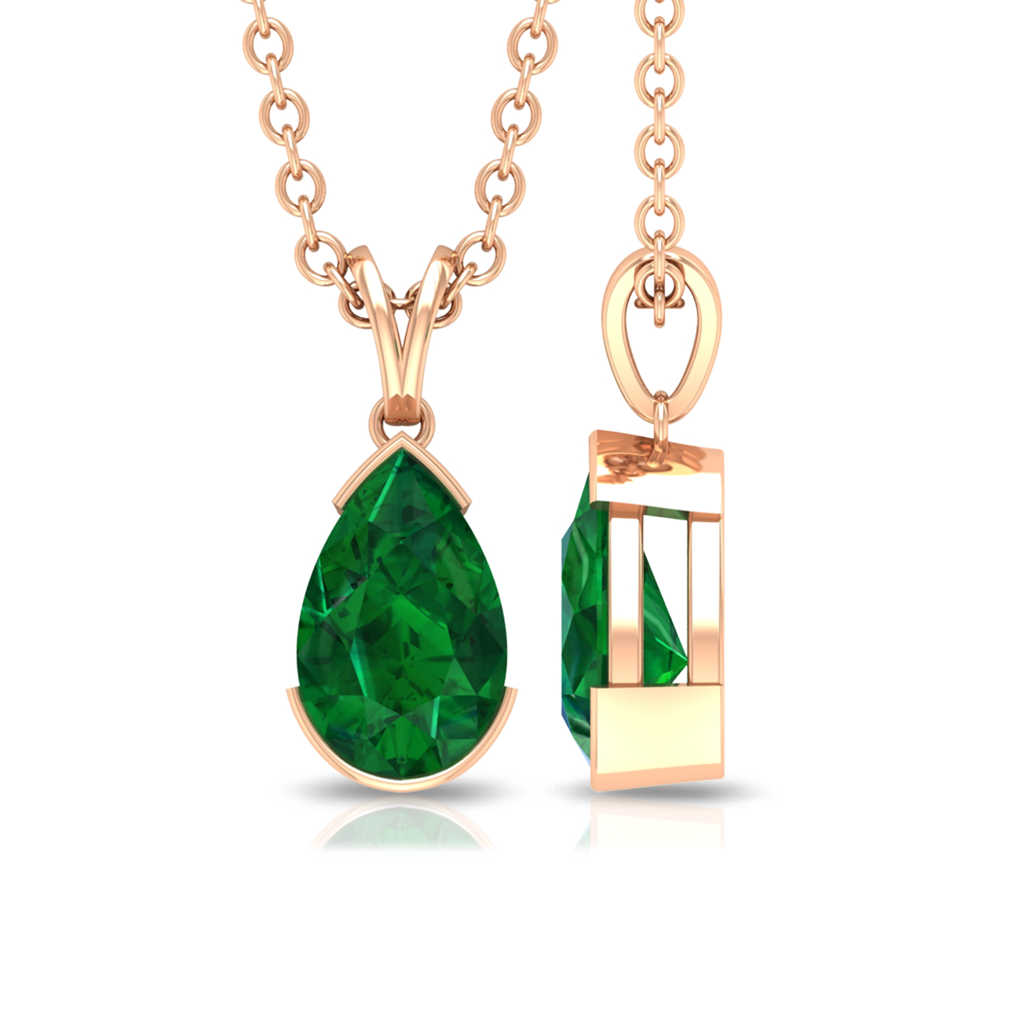 4.5X7 MM Pear Cut Emerald Solitaire Pendant in Half Bezel Setting with Rabbit Ear Bail