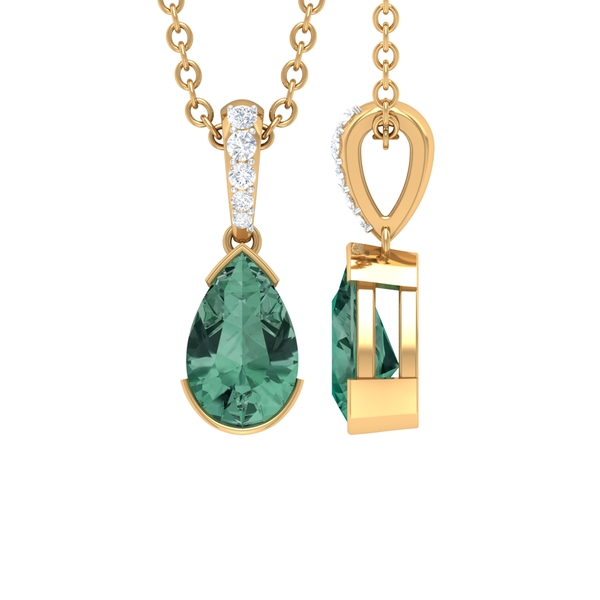 7X10 MM Pear Cut Green Sapphire Solitaire Pendant in Half Bezel Setting with Diamond Accent Bail