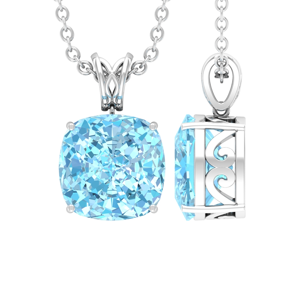 8X8 MM Cushion Cut Aquamarine Solitaire Pendant in 4 Prong Setting with Decorative Bail