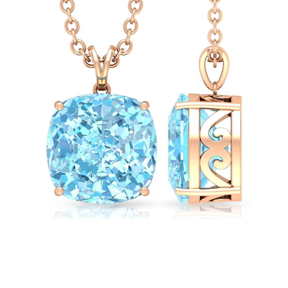 8X8 MM Cushion Cut Aquamarine Solitaire Pendant in 4 Prong Setting with Rabbit Ear Bail