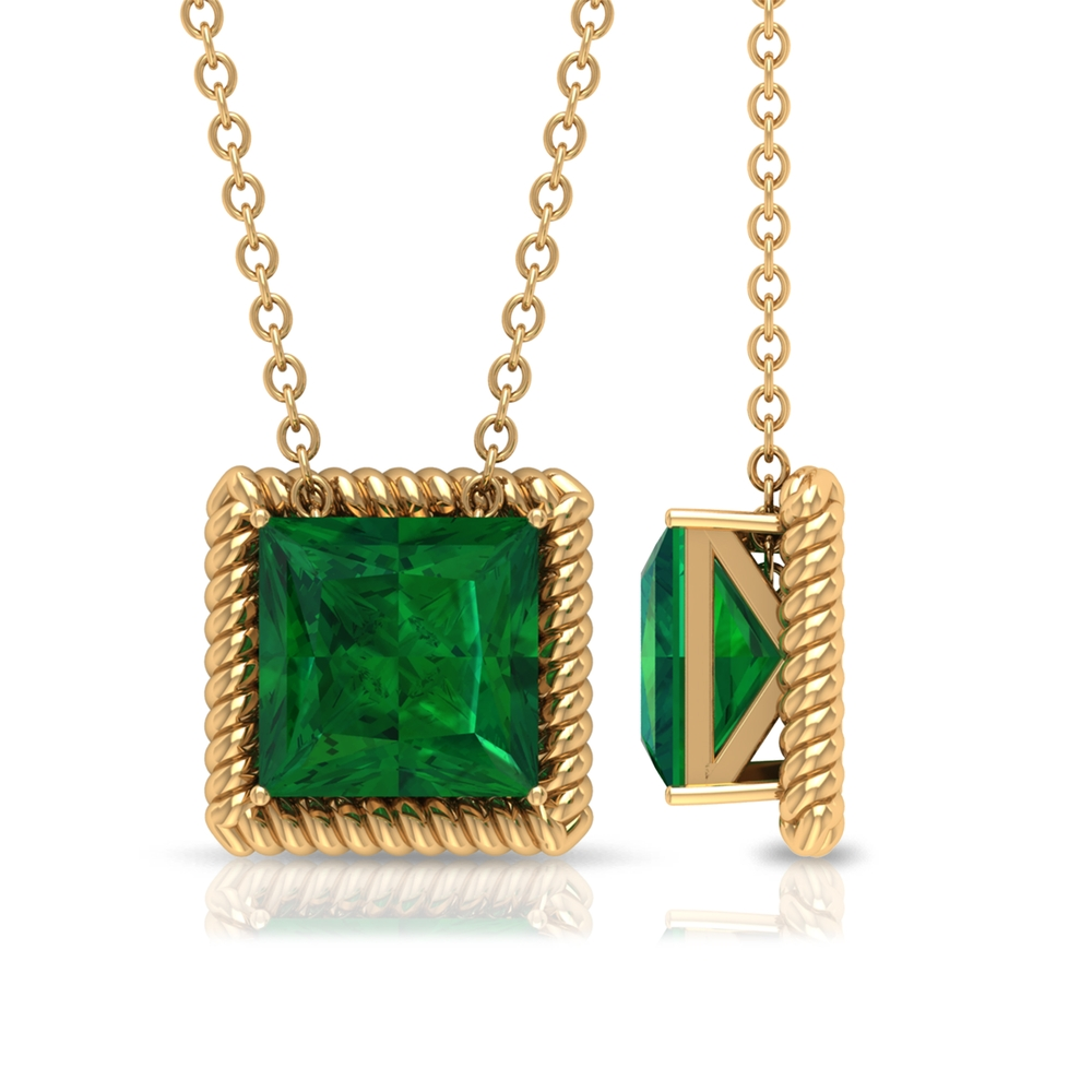7 MM Princess Cut Emerald Solitaire Pendant in 4 Prong Setting with Rope Frame