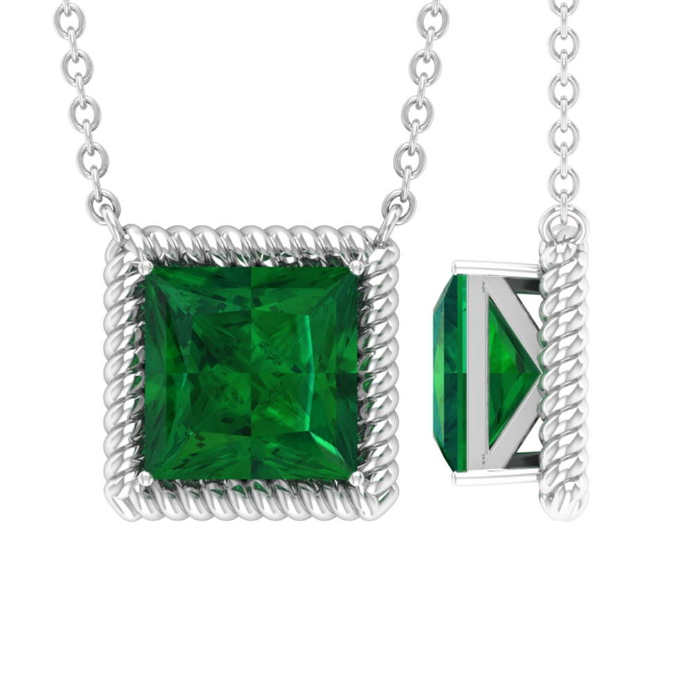 7 MM Princess Cut Emerald Solitaire Necklace in 4 Prong Setting with Rope Frame