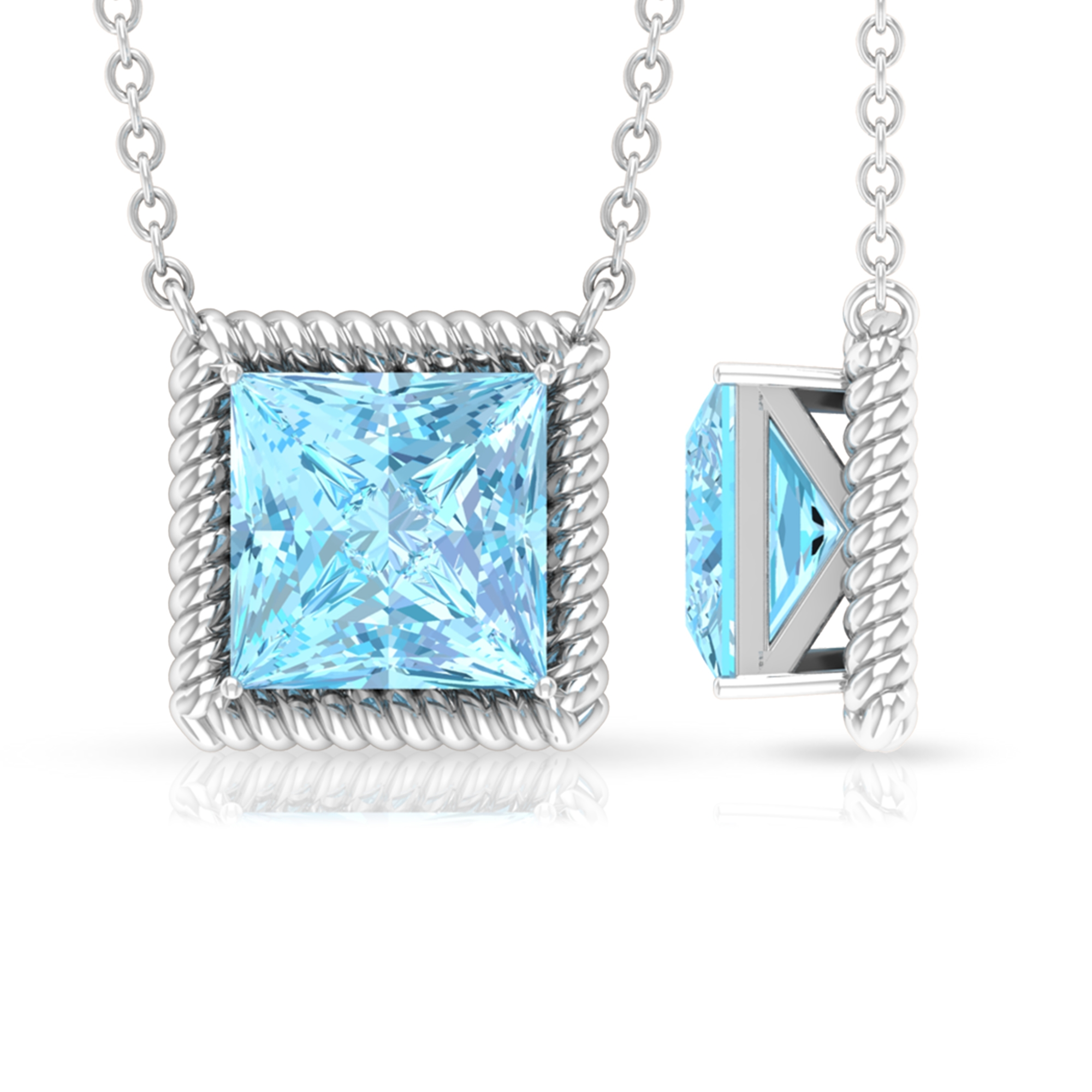7X7 MM Princess Cut Aquamarine Solitaire Necklace in 4 Prong Setting with Twisted Rope Frame