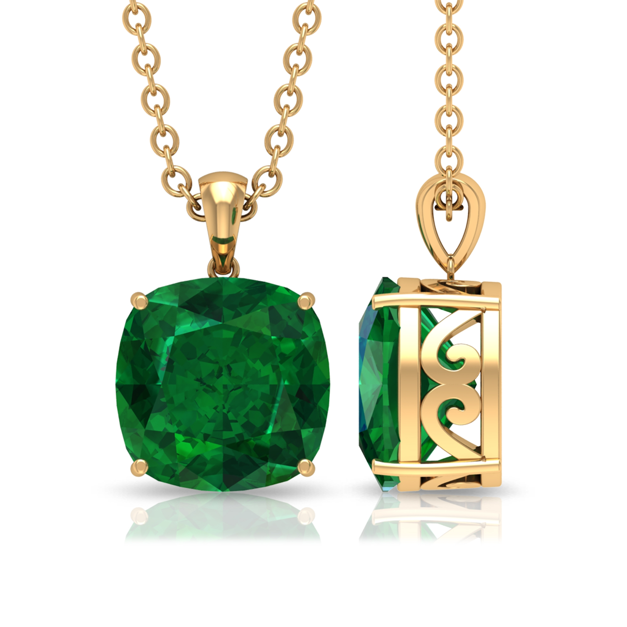 8 MM Solitaire Cushion Cut Emerald Pendant in 4 Prong Setting