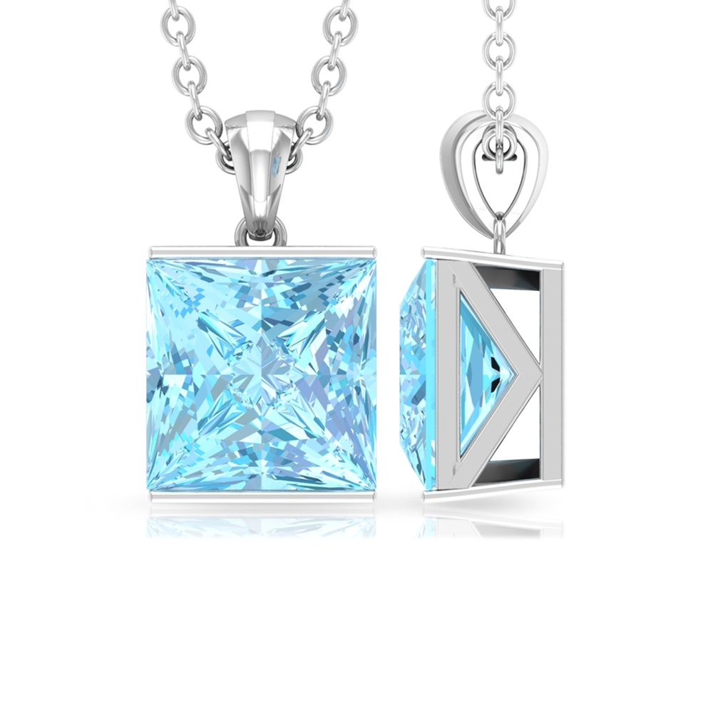 7X7 MM Princess Cut Aquamarine Solitaire Pendant in Bar Setting with Twisted Rope Embellishments