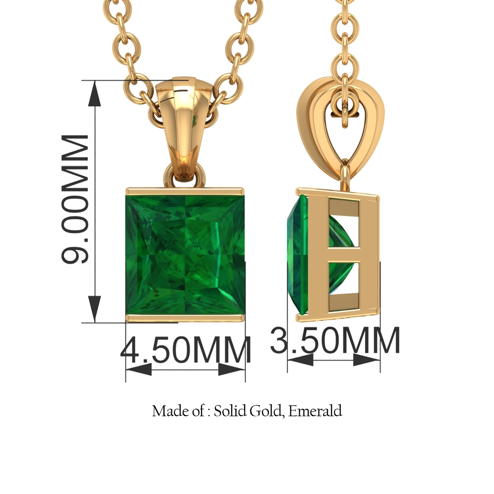 4.5 MM Princess Cut Emerald Solitaire Pendant in Bar Setting with Standard Bail