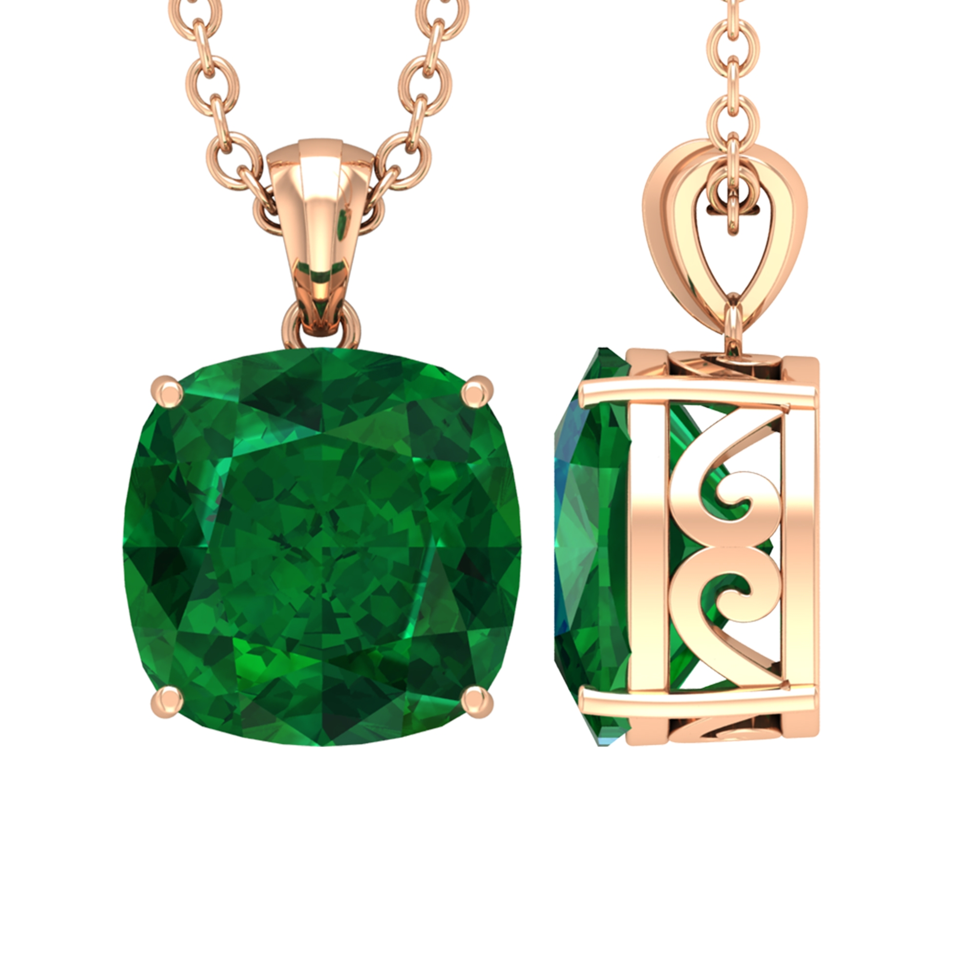 8 MM Cushion Cut Emerald Solitaire Pendant in 4 Prong Setting for Women