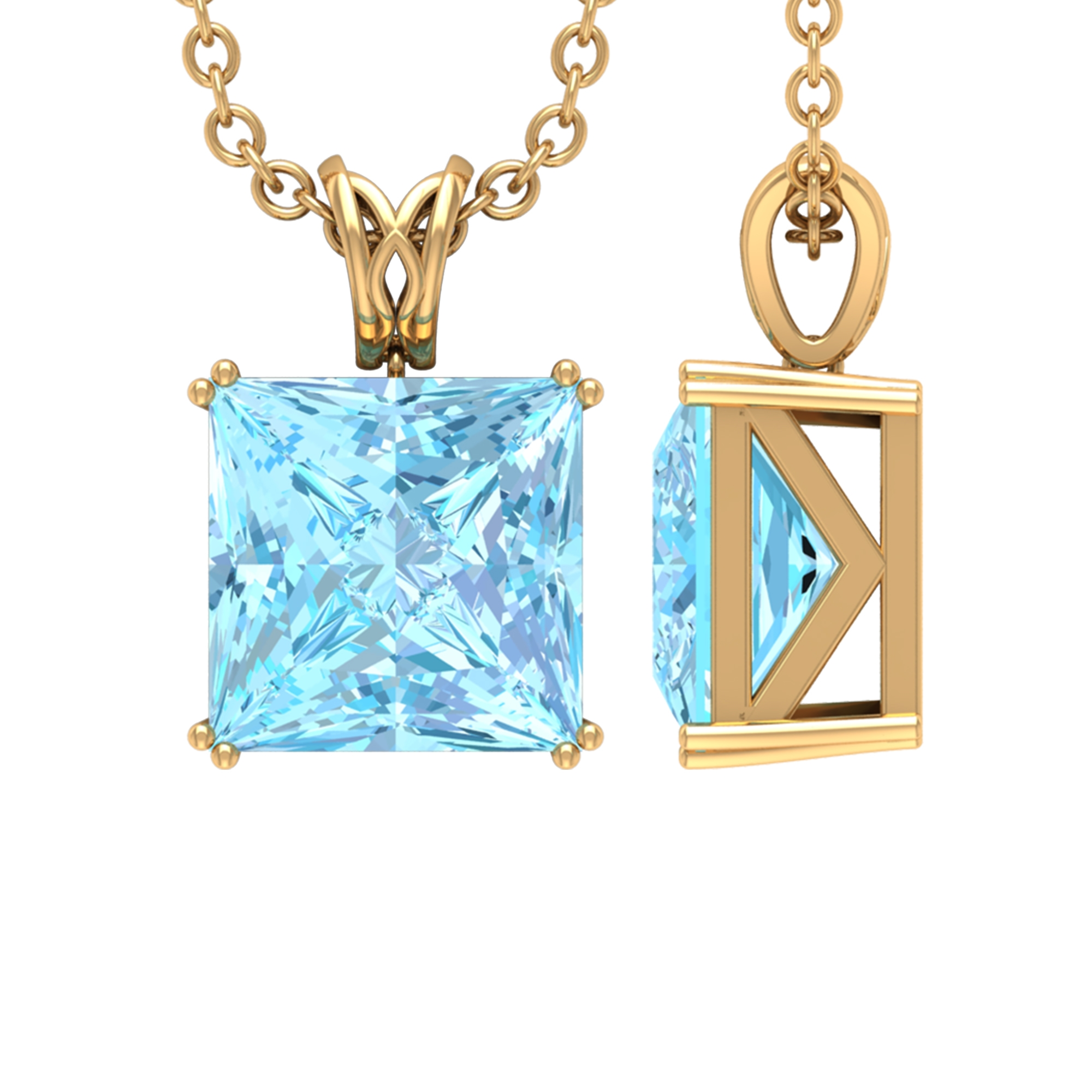 7X7 MM Princess Cut Aquamarine Solitaire Pendant in Double Prong Setting with Decorative Bail