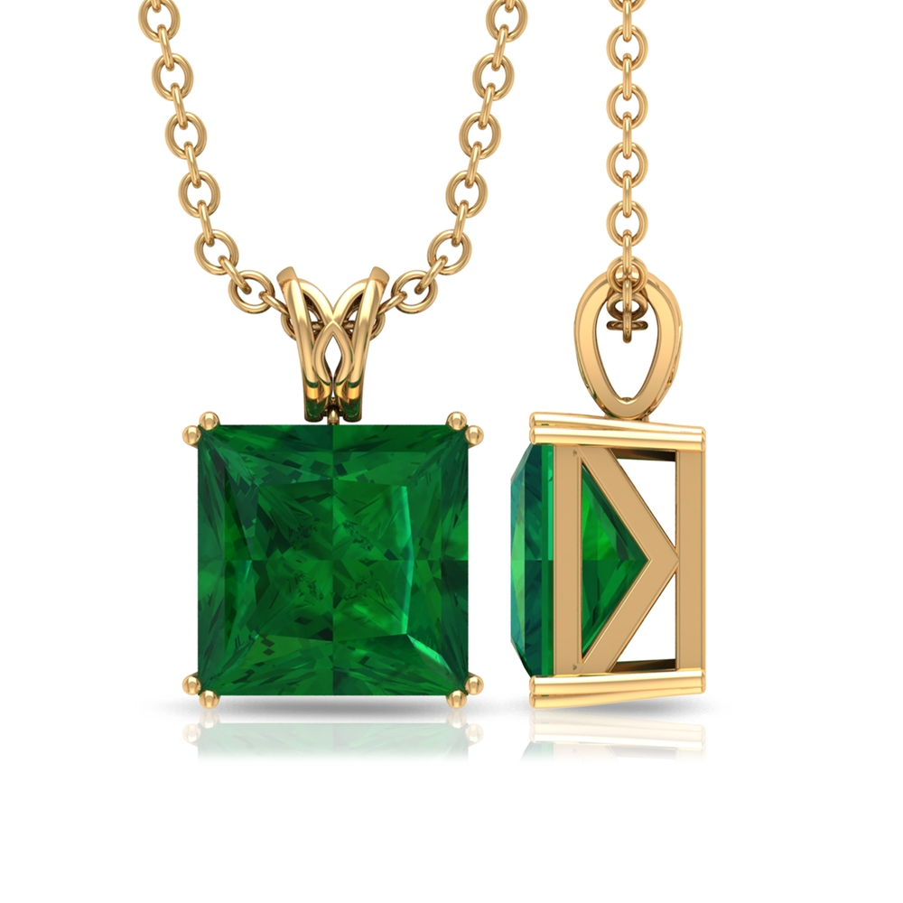 7 MM Princess Cut Emerald Solitaire Minimal Pendant in Double Prong Setting with Decorative Bail