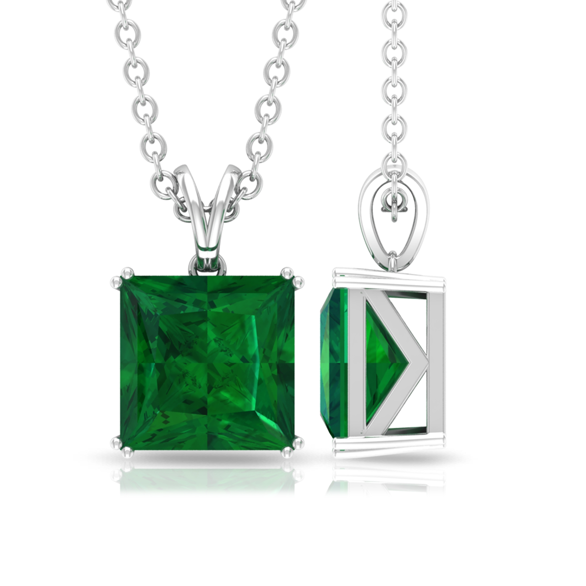 7 MM Princess Cut Emerald Solitaire Pendant in Double Prong Setting with Rabbit Ear Bail