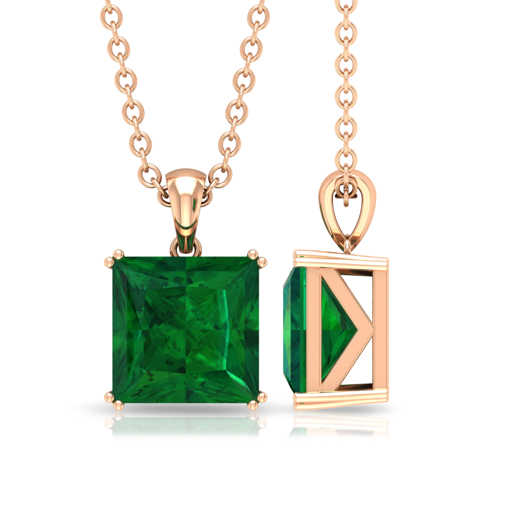 7 MM Princess Cut Emerald Solitaire Pendant in Double Prong Setting