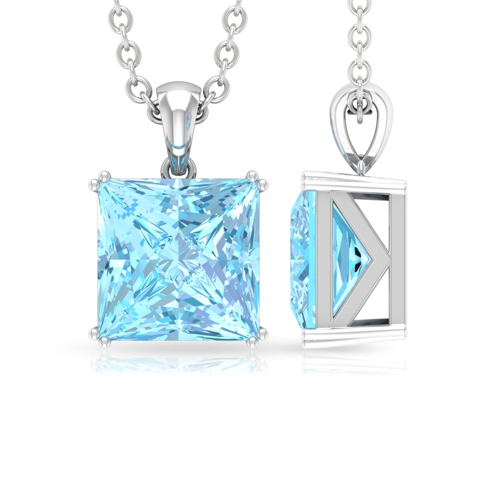 7 MM Princess Cut Aquamarine Solitaire Pendant in Double Prong Setting For Women