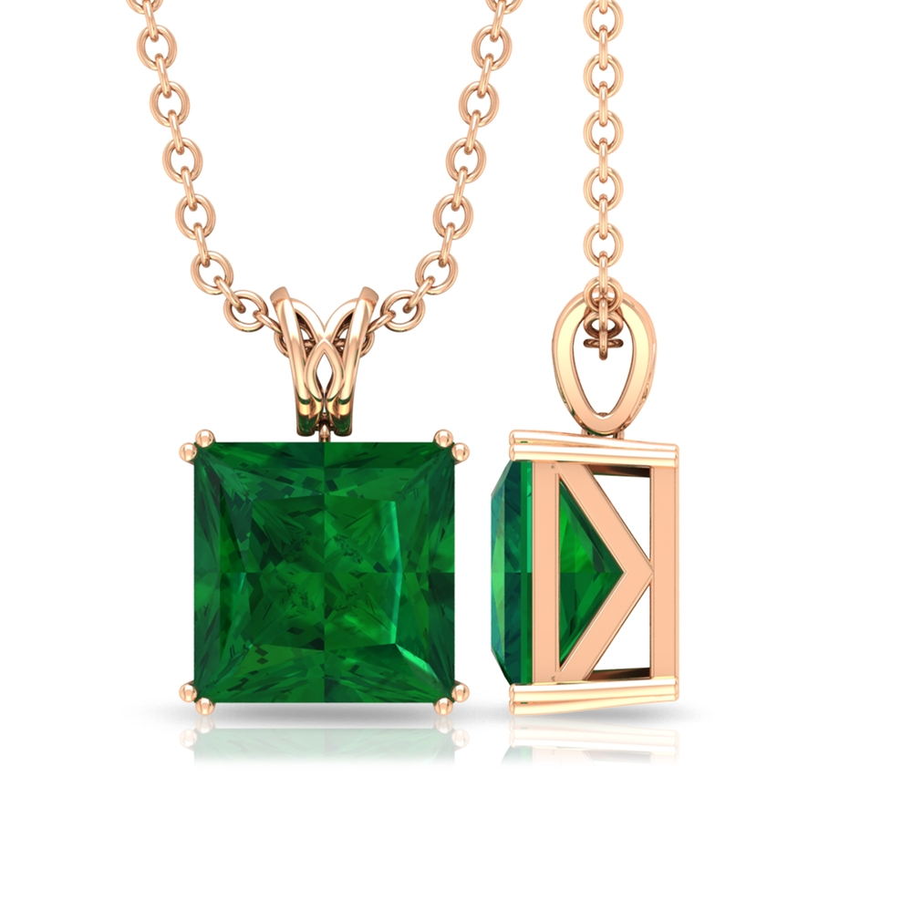 7 MM Princess Cut Emerald Solitaire Pendant in Double Prong Setting with Decorative Bail