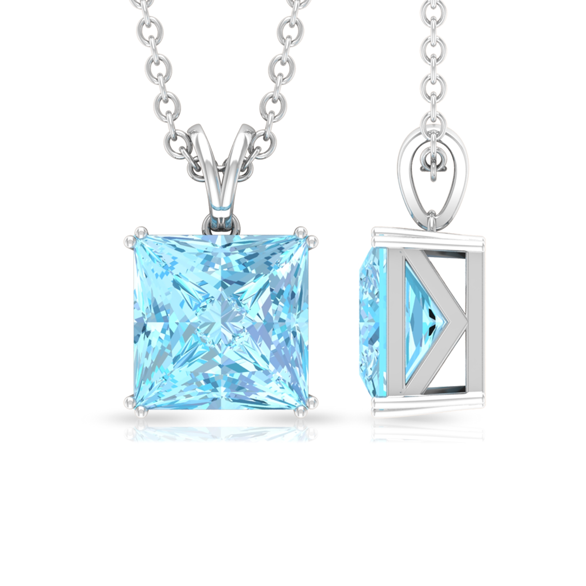 7X7 MM Princess Cut Aquamarine Solitaire Pendant in Double Prong Setting with Rabbit Ear Bail