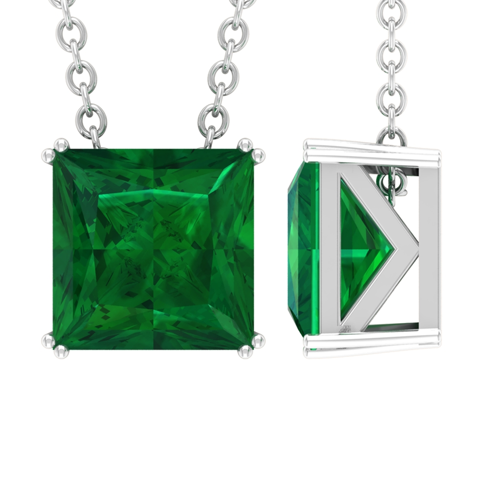7 MM Princess Cut Emerald Solitaire Simple Pendant in Double Prong Setting with Decorative Bail