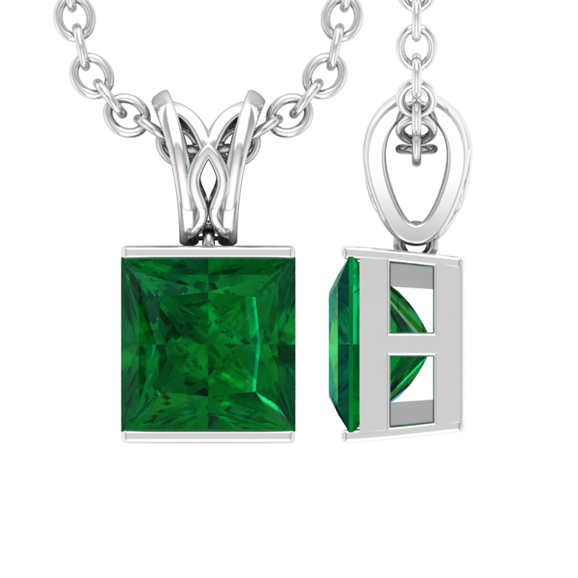 4.5 MM Princess Cut Emerald Solitaire Minimal Pendant in Bar Setting with Decorative Bail