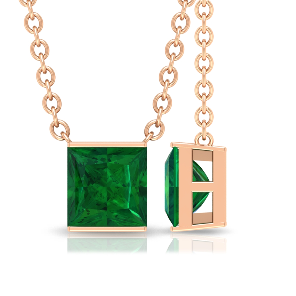 4.5 MM Princess Cut Emerald Solitaire Simple Necklace in Bar Setting