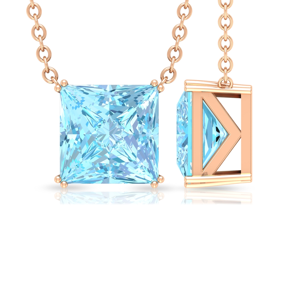 7 MM Princess Cut Solitaire Aquamarine Simple Necklace in Double Prong Setting