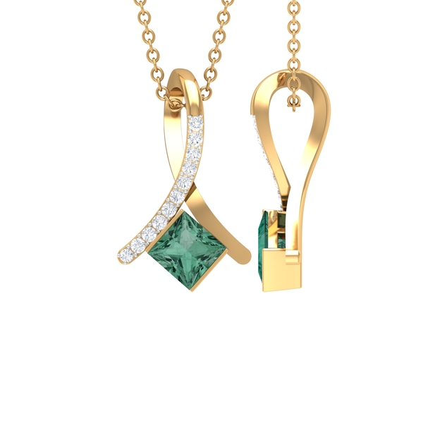 2.25 CT Green Sapphire and Diamond Pendant For Women in Bar Setting
