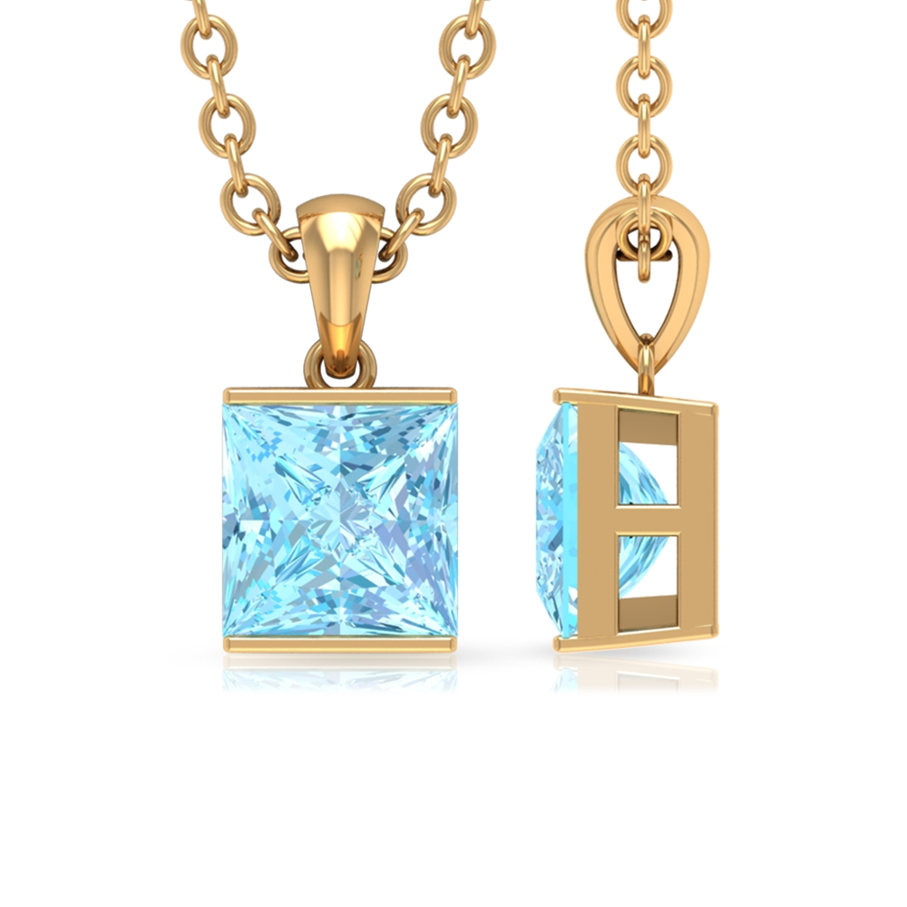 4.5X4.5 MM Princess Cut Solitaire Aquamarine Pendant in Bar Setting with Gold Rondelle Bail