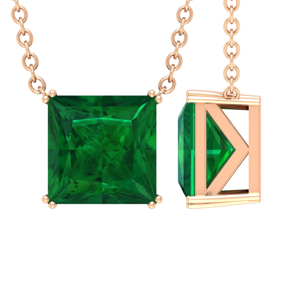 7 MM Princess Cut Emerald Solitaire Simple Necklace in Double Prong Setting