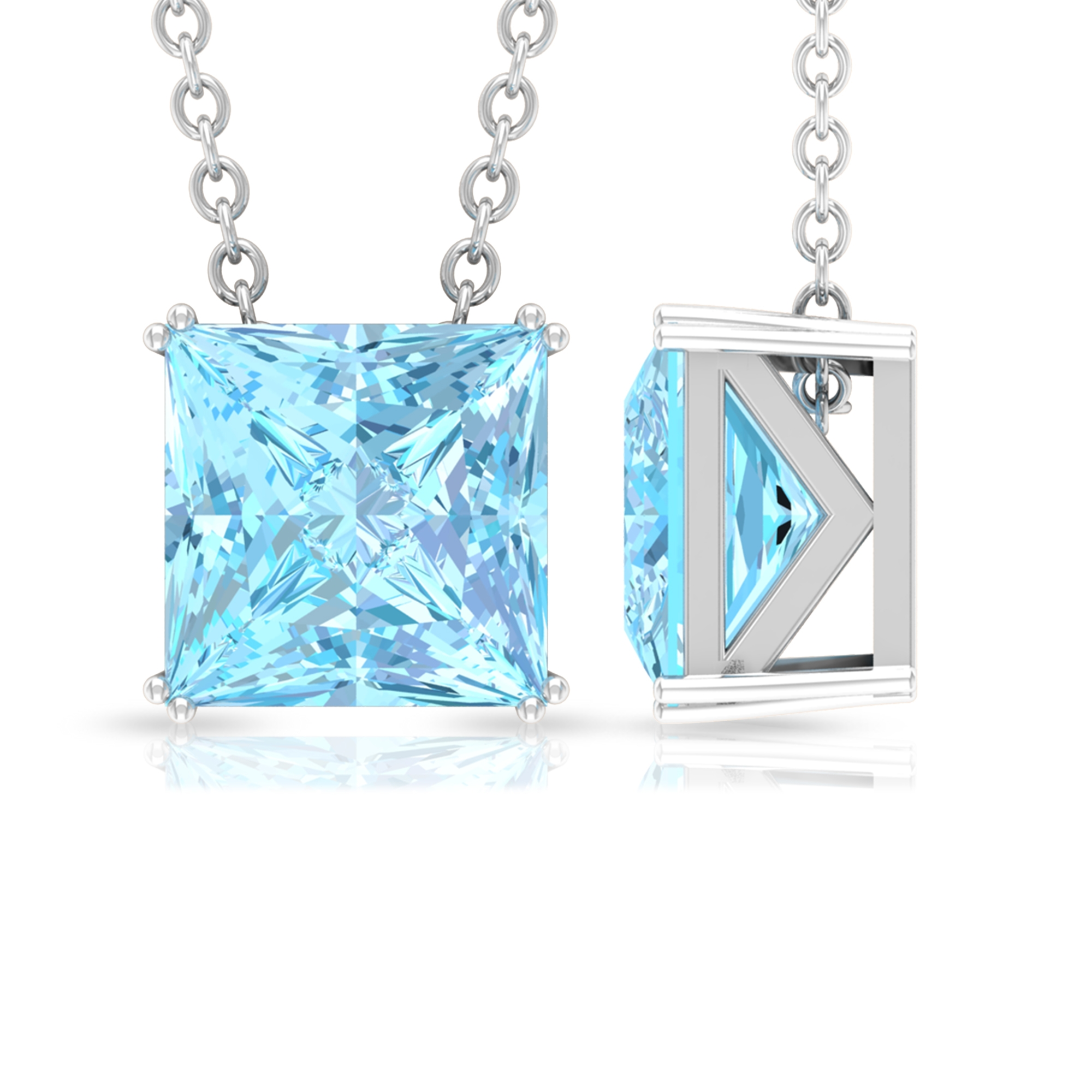 7 MM Princess Cut Solitaire Aquamarine Simple Pendant in Double Prong Setting
