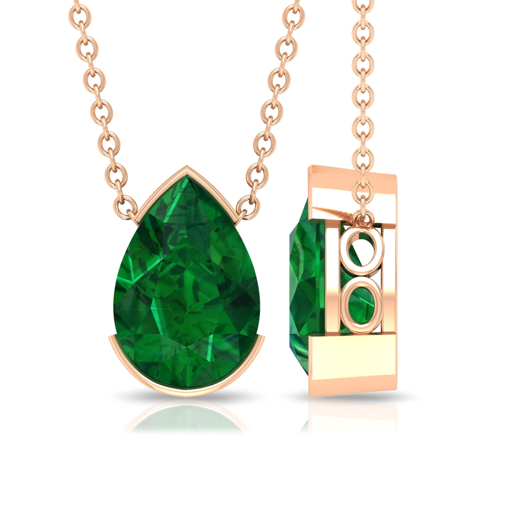 7X10 MM Pear Cut Emerald Solitaire Necklace in Half Bezel Setting