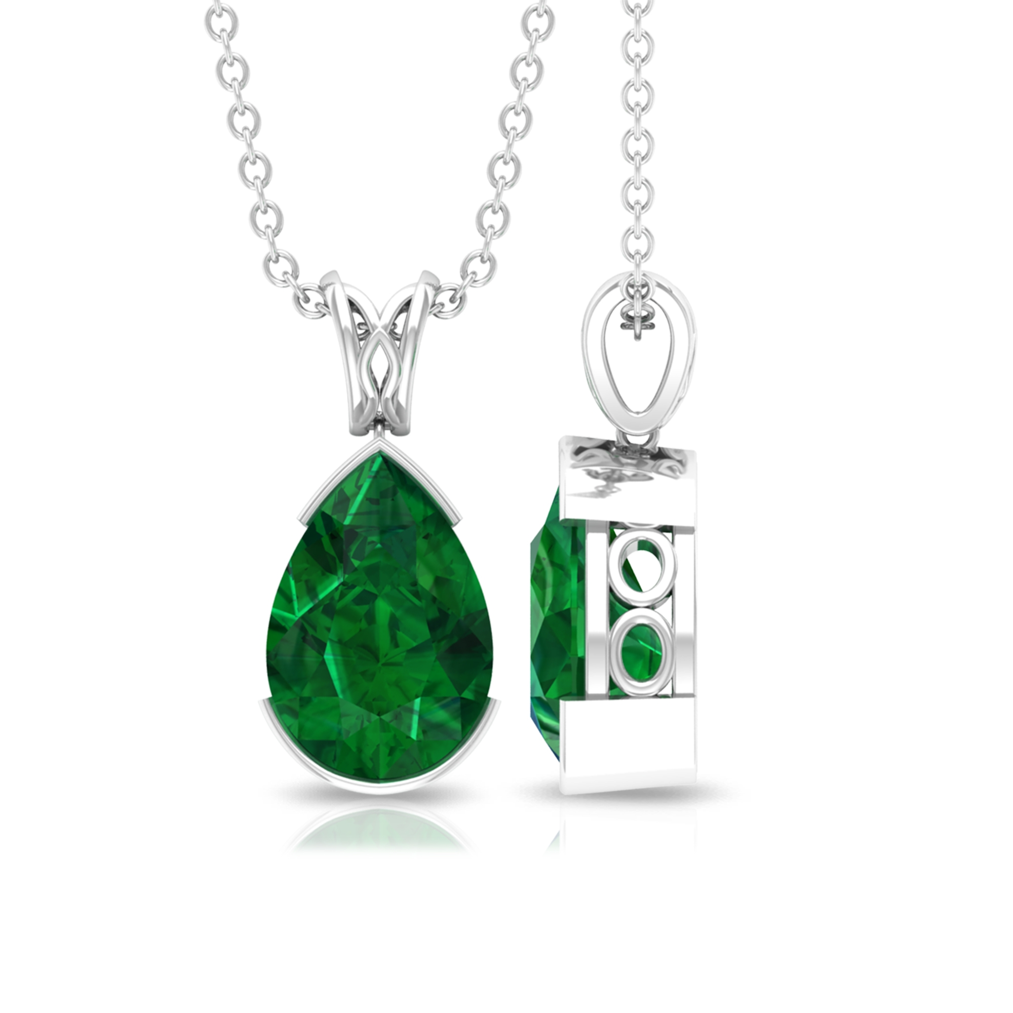 7X10 MM Pear Cut Emerald Solitaire Simple Pendant in Half Bezel Setting with Decorative Bail