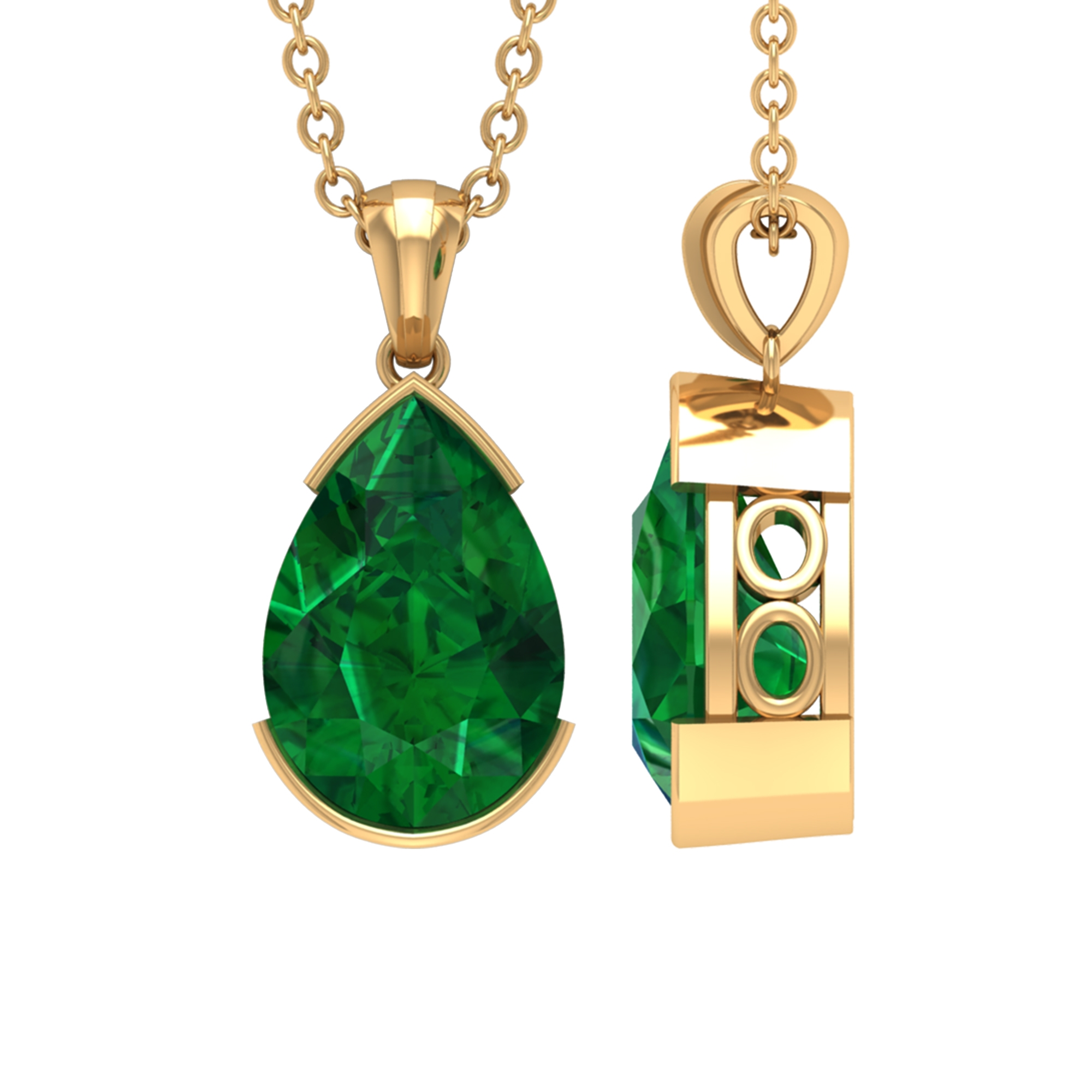 7X10 MM Pear Cut Emerald Solitaire Pendant in Half Bezel Setting with Bail