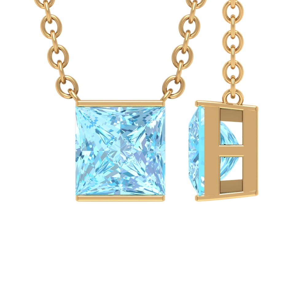 4.5X4.5 MM Princess Cut Aquamarine Solitaire Necklace in Bar Setting