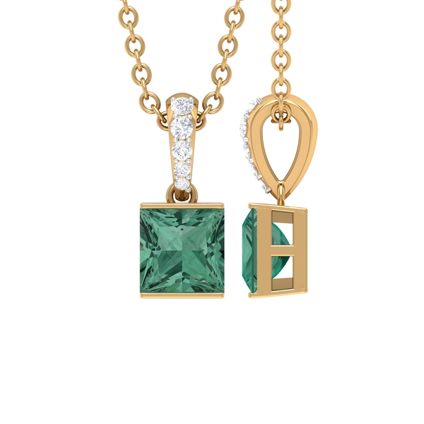 4.5X4.5 MM Princess Cut Green Sapphire Solitaire Pendant in Bar Setting with Diamond Accent Bail