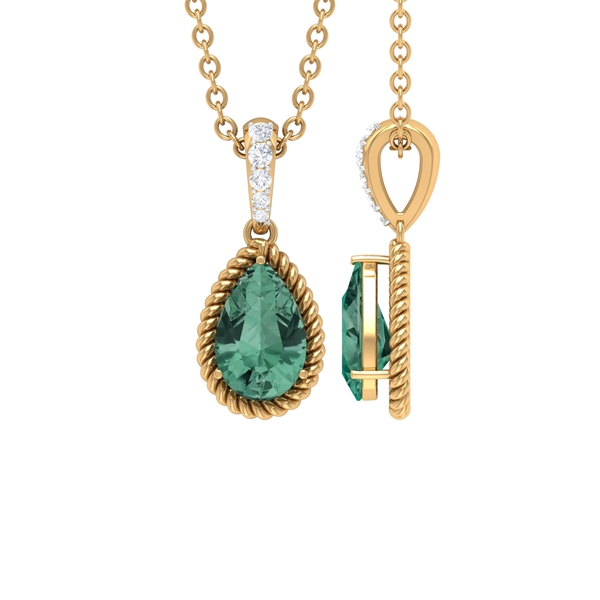 4.5X7 MM Pear Shape Green Sapphire Solitaire Pendant in 3 Prong Setting with Diamond Accent Bail and Twisted Rope Frame