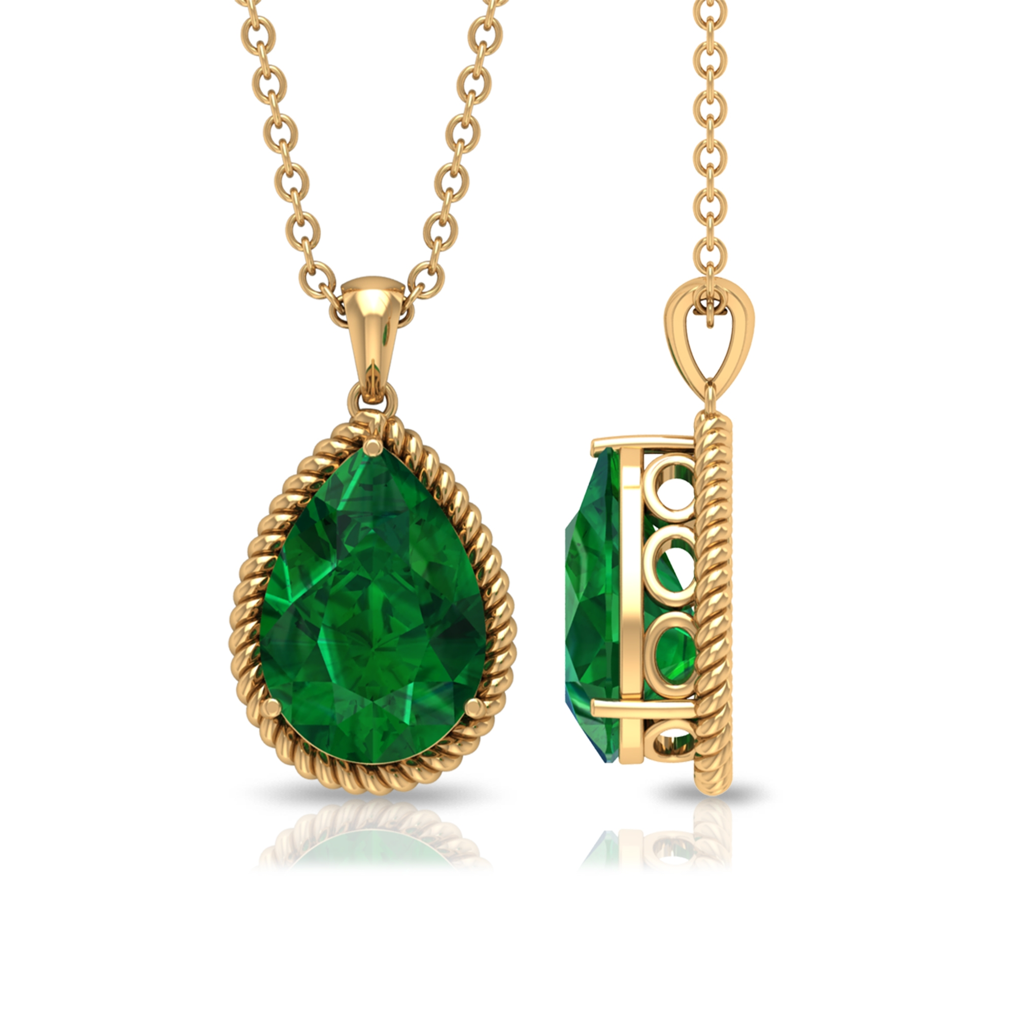 7X10 MM Pear Cut Emerald Solitaire Antique Pendant in 3 Prong Setting with Rope Frame