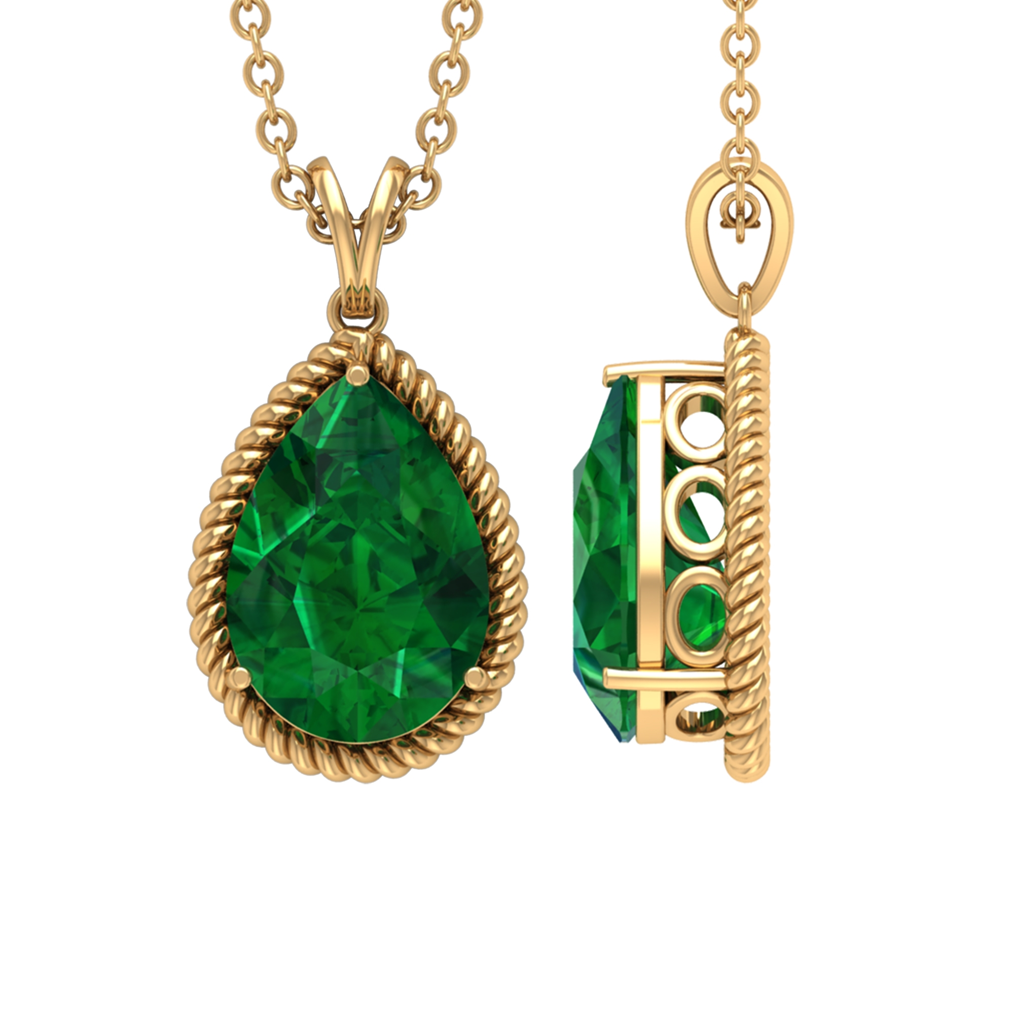 7X10 MM 3 Prong Set Pear Cut Emerald Solitaire Statement Pendant with Rope Frame and Rabbit Ear Bail