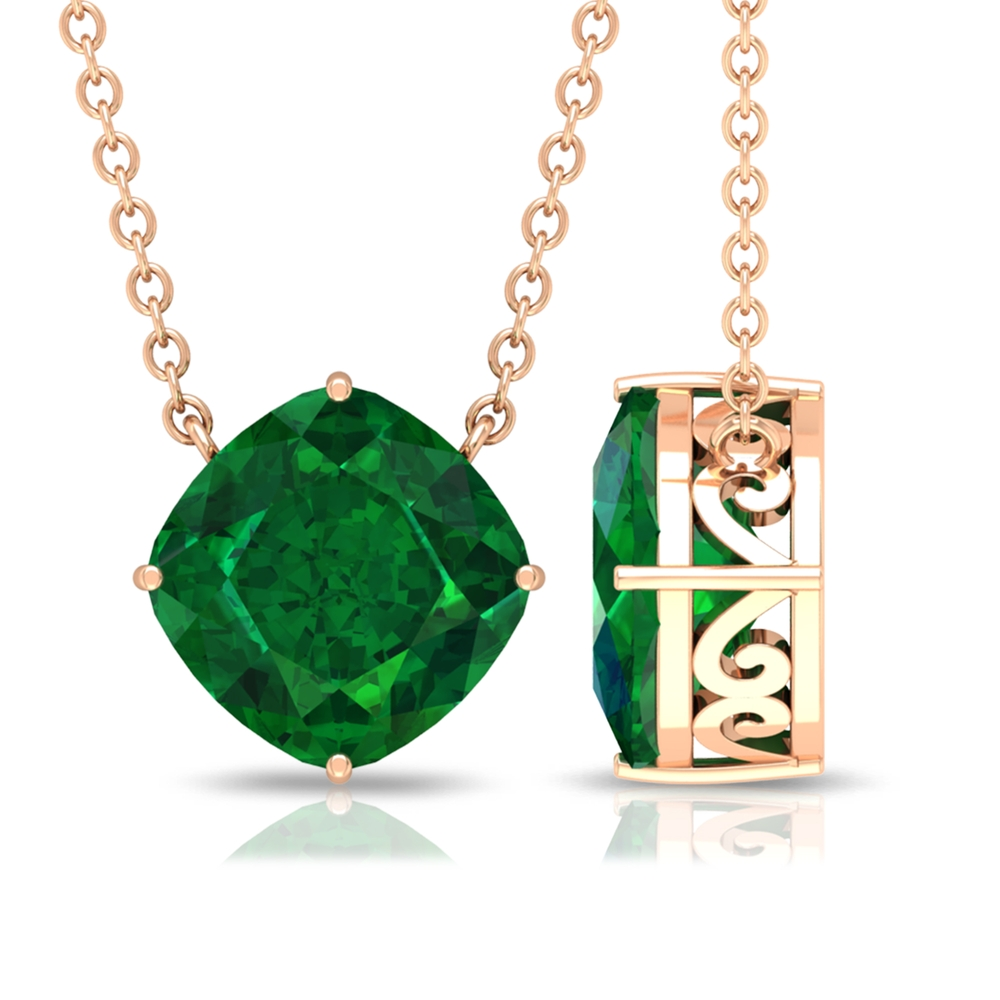 8 MM Cushion Cut Emerald Solitaire Minimal Necklace in 4 Prong Diagonal Setting